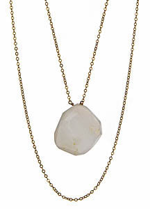 Gigi Chic White Druzy Geode Pendant Necklace
