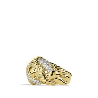 David Yurman Woven Cable Wide Ring with Diamonds in Gold