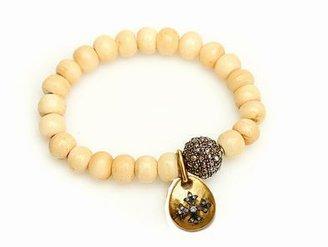 Sara Weinstock Maltese Cross on White Bone Bead Bracelet with Pave Diamond Ball