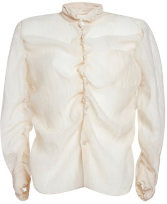 Marni Alabaster Cotton Silk Gauze Long Sleeve Shirt