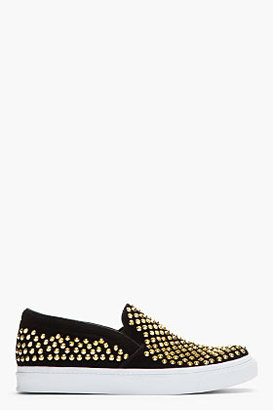 Jeffrey Campbell Black gold-studded Vin Man St loafers