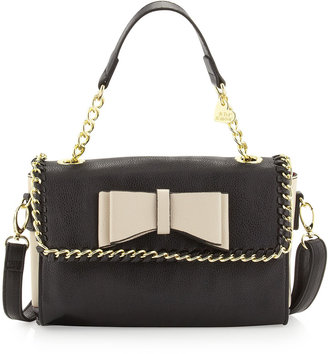 Betsey Johnson Tough Love Pebbled Mini Satchel Bag, Black/Cream