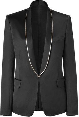 Balmain Black Buttonless Silk Jacket