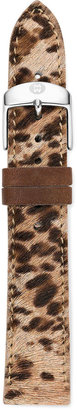 Michele 18mm Cheetah-Print Calf Hair Strap, Brown