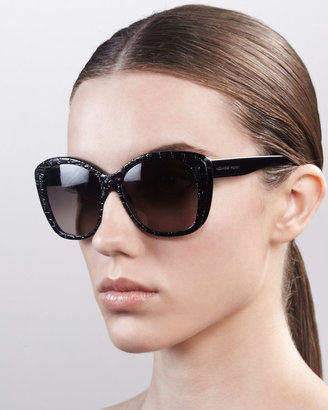 Alexander McQueen Embossed Oversized Sunglasses, Black
