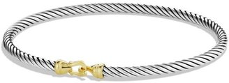 David Yurman Cable Collectibles Buckle Bangle Bracelet with 18K Yellow Gold/3 mm