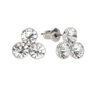 Lauren Conrad silver tone simulated crystal 3-stone stud earrings