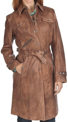 Scully Long Snap Front Coat - Distressed Leather (For Women)