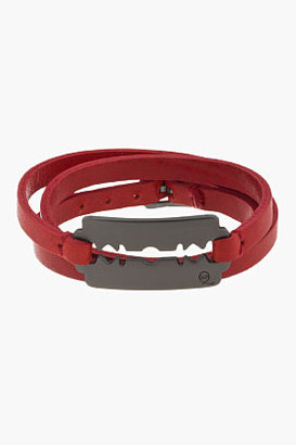 McQ by Alexander McQueen Red Leather Triple-Wrap Razorblade Bracelet