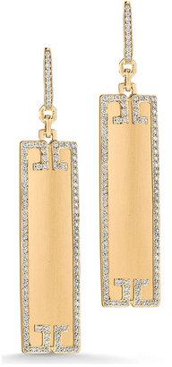 Ivanka Trump Metropolis 18k Rectangular Sliver Earrings with Diamond Deco