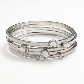 JLO by Jennifer Lopez silver tone simulated crystal bangle bracelet set