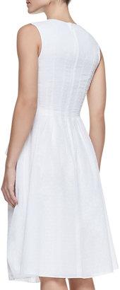 Lela Rose Tiered Zip-Front Cotton Peplum Dress