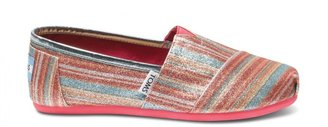 Toms Pink stripe youth glitters