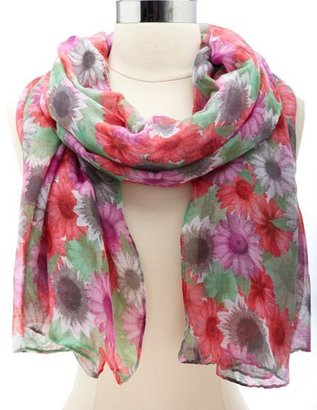 Charlotte Russe Colorful Daisy Print Scarf