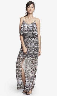 Express Snakeskin Print Ruffle Top Maxi Dress