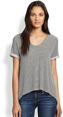 Alice + Olivia Hi-Lo Striped Jersey Tee