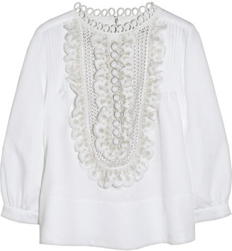 Chloé Ruffled broderie anglaise linen-blend blouse