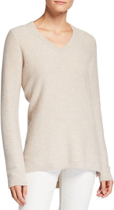 Tse For Neiman Marcus Recycled Cashmere Pique Stitch V-Neck Tunic