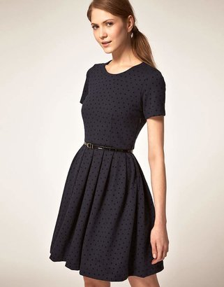 Jaeger Boutique By Ponti Prom Dress in Flocked Polka Dot