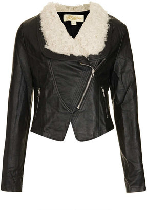 Topshop **Leather Look Jacket by Goldie