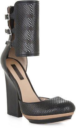 BCBGMAXAZRIA Hailey Perforated Ankle-Strap Pump