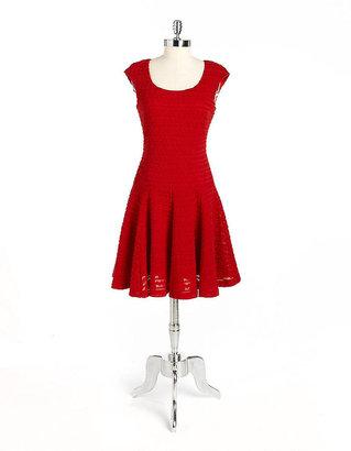 Maggy London Cap-Sleeved Textured Dress