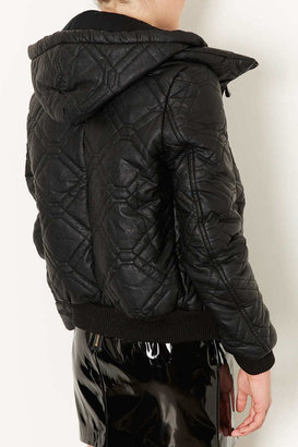 Topshop Quilted Faux Leather Puffer