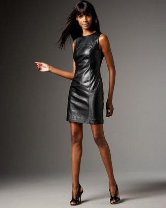 Shoshanna Sleeveless Seamed Leather Dress