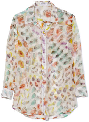 Equipment Feather Study Printed Bright White Multi Daddy Blouse