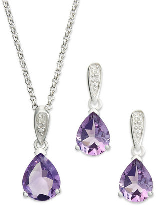 Townsend Victoria Sterling Silver Jewelry Set, Pear-Cut Amethyst (4-1/3 ct. t.w.) and Diamond Accent Necklace and Earrings