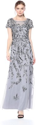 Adrianna Papell Women's Short Sleeve Beaded Gown with Vine Motif