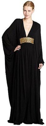 Alexander McQueen black crepe embellished batwing sleeve gown