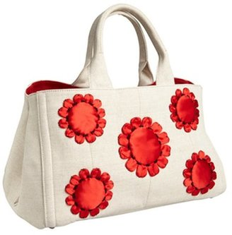 Prada cream and red canvas flower detail tote