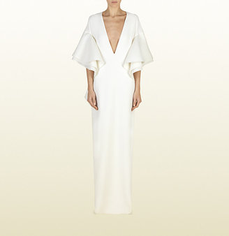 Gucci White Silk Gown With Flounce Detail