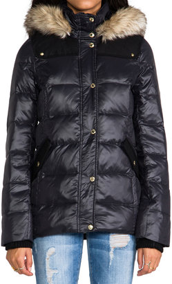 Juicy Couture Long Puffer Jacket w/ Faux Fur