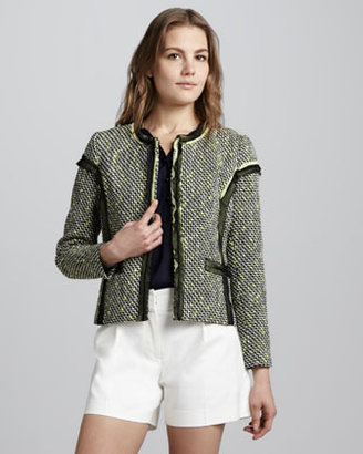 Milly Lea Contrast-Trim Tweed Blazer