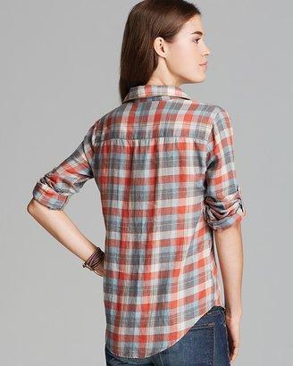 JACHS Girlfriend Shirt - Gabi Plaid Print Button Down