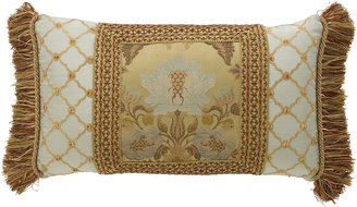 """Dian Austin Couture Home Petit Trianon Pieced Pillow with Side Fringe, 15"""" x 26"""""""