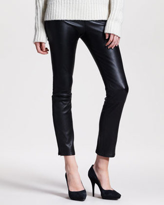 The Row Ankle-Zip Leather Leggings