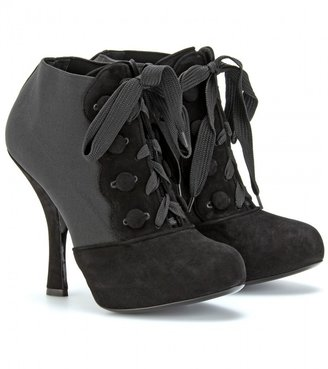 Dolce & Gabbana LACE UP SUEDE TRIMMED ANKLE BOOTS