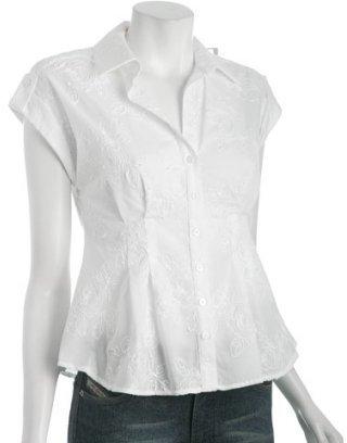 Cynthia Steffe Cynthia white rose embroidered cotton shirt