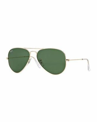 Ray-Ban Original Aviator Sunglasses, Golden/Green $150 thestylecure.com