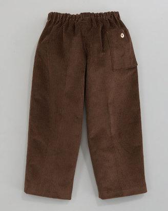 Oscar de la Renta Fine-Wale Corduroy Pants, Brown