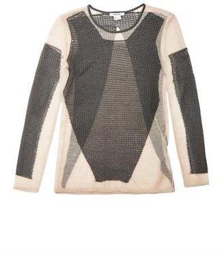 Helmut Lang Modern lace sheer-knit sweater