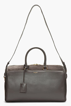 Saint Laurent Charcoal grey leather and suede duffle 12 bag