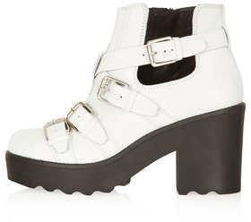Topshop ARGO White Strap Boots