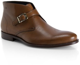 HUGO BOSS Leather Buckle 'Henkor' Ankle Boot by BOSS