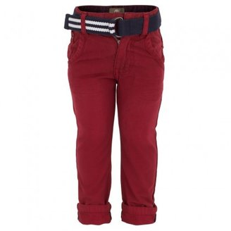 Timberland Kids Brick Red Twill Pants with Woven Belt