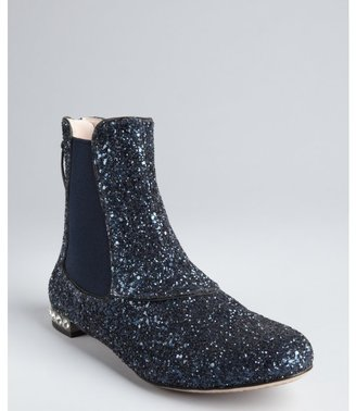 Miu Miu navy glitter leather and crystal detail flat ankle boots