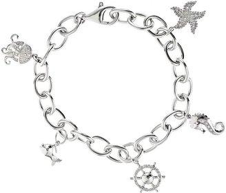 Affinity Diamond Jewelry Affinity 1/5 cttw Diamond Charm Bracelet Sterling